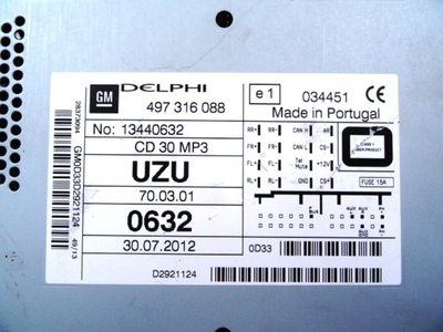 CD30 MP3 Piano Black Corsa D ident UZU