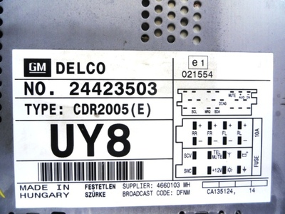 CDR 2005 CD Radio Delco (Decoded) Anthracite